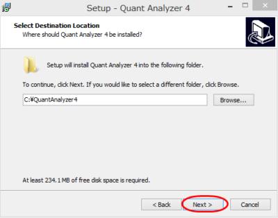 QuantAnalyzer インストール方法⑤