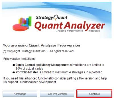 Quant Analyzer 4を起動し「Continue」