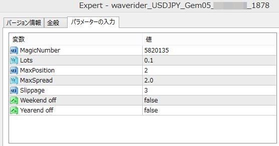 「WaveRider_USDJPY_Gem05」 EAパラメータ